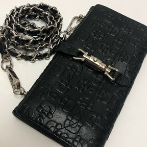 Gucci leather horsebit wallet on chain